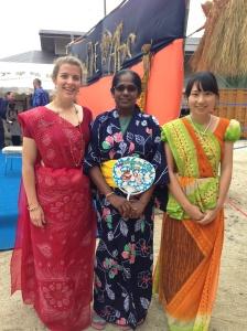 Me, Ayoma (Sri Lanka), and Noriko (Japan) in the Sari's Ayoma dressed us in.